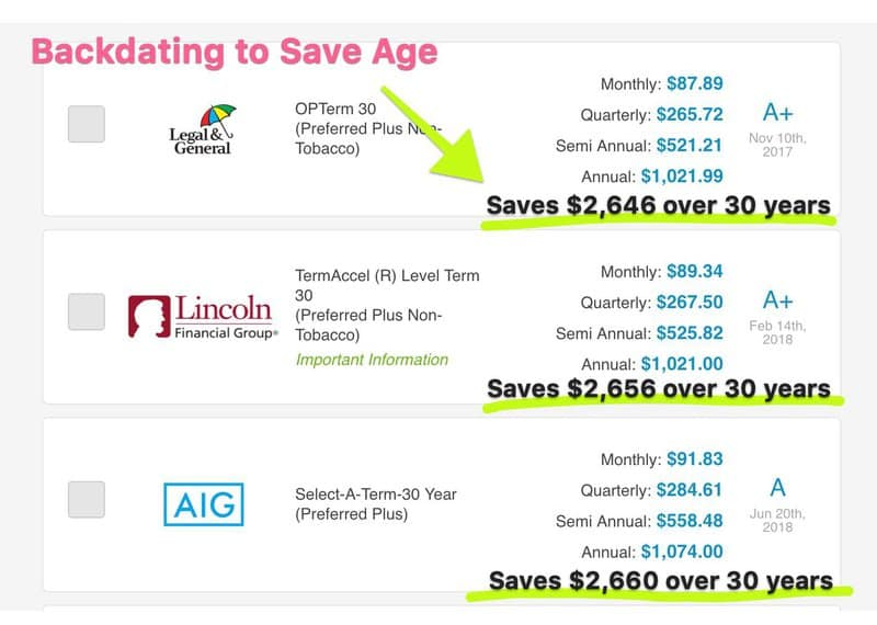 backdating to save age on life insurance