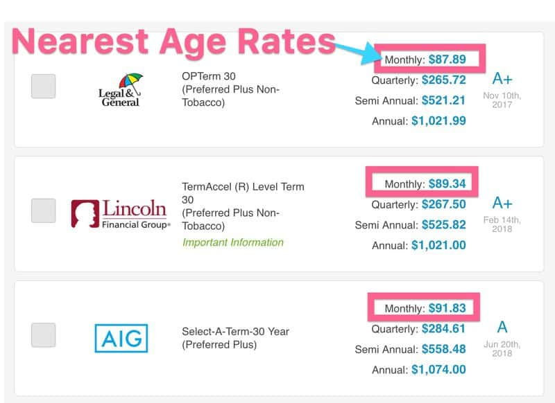 nearest age life insurance rates